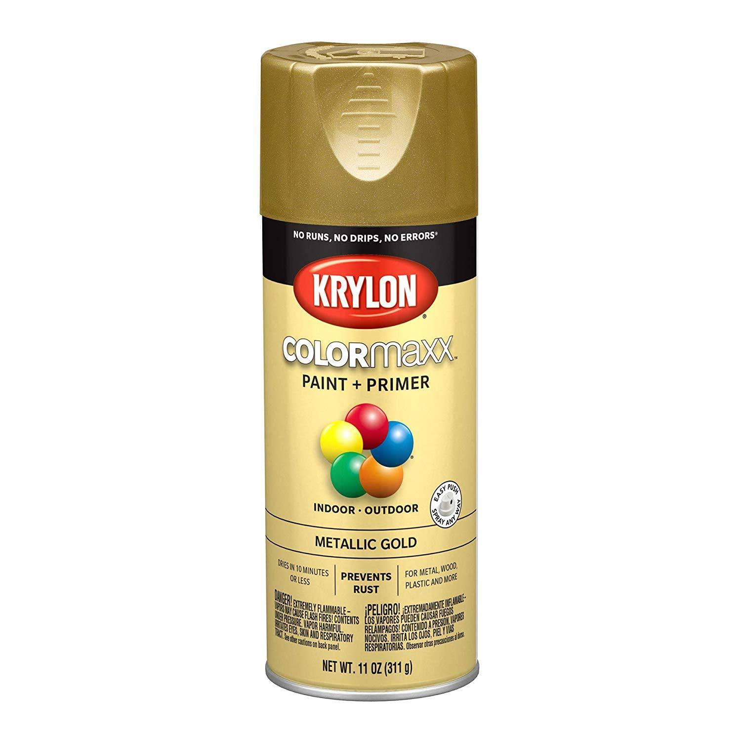 Krylon K05588007 COLORmaxx Spray Paint and Primer - Metallic Gold, 11oz