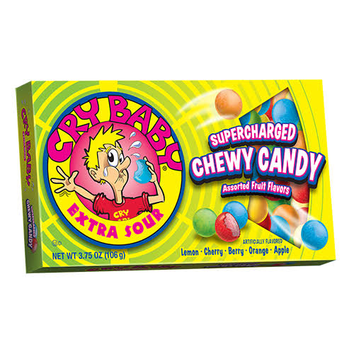 Cry Baby Extra Sour Supershcarged Chewy Candy, Theater Box