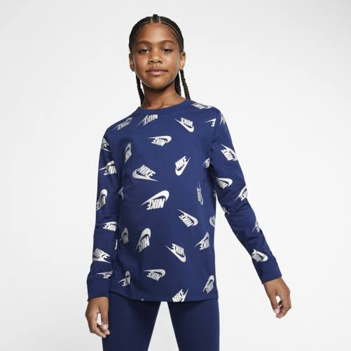 Nike Girls' Sportswear Futura Allover Print Long-Sleeve T-Shirt Blue