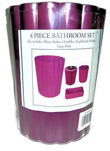Better Homes Plum Purple Plastic Bathroom Set, Cup, Trash Container, Soap Dish & Toothbrush Holder, 4 Piece