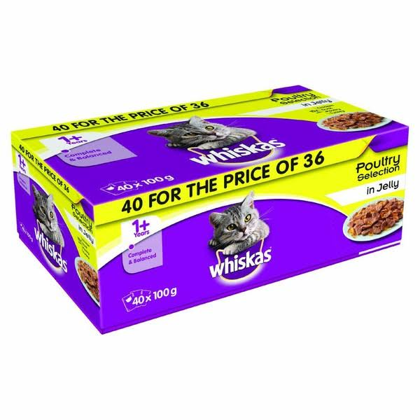 Whiskas Poultry Selection Pouches in Jelly Multipack - 40pk, 100g