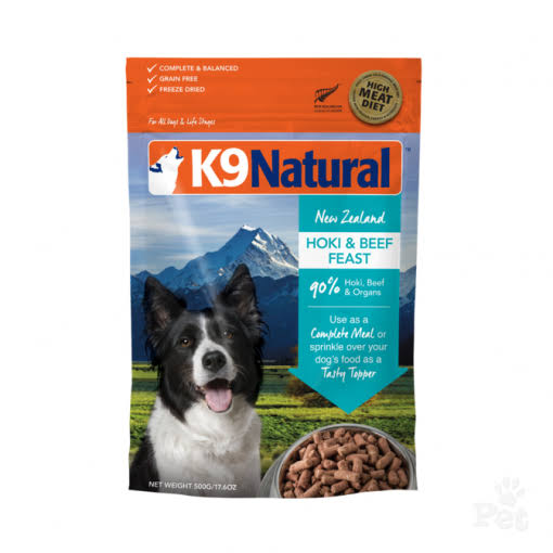 K9 Natural 57551876 Freeze-Dried Beef Hoki Dog Food - 1.1 lbs