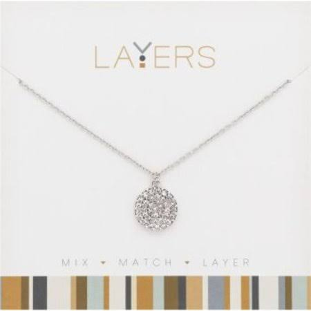 "Layers 0.5"" Silver Adjustable Necklace with Round Pendant"
