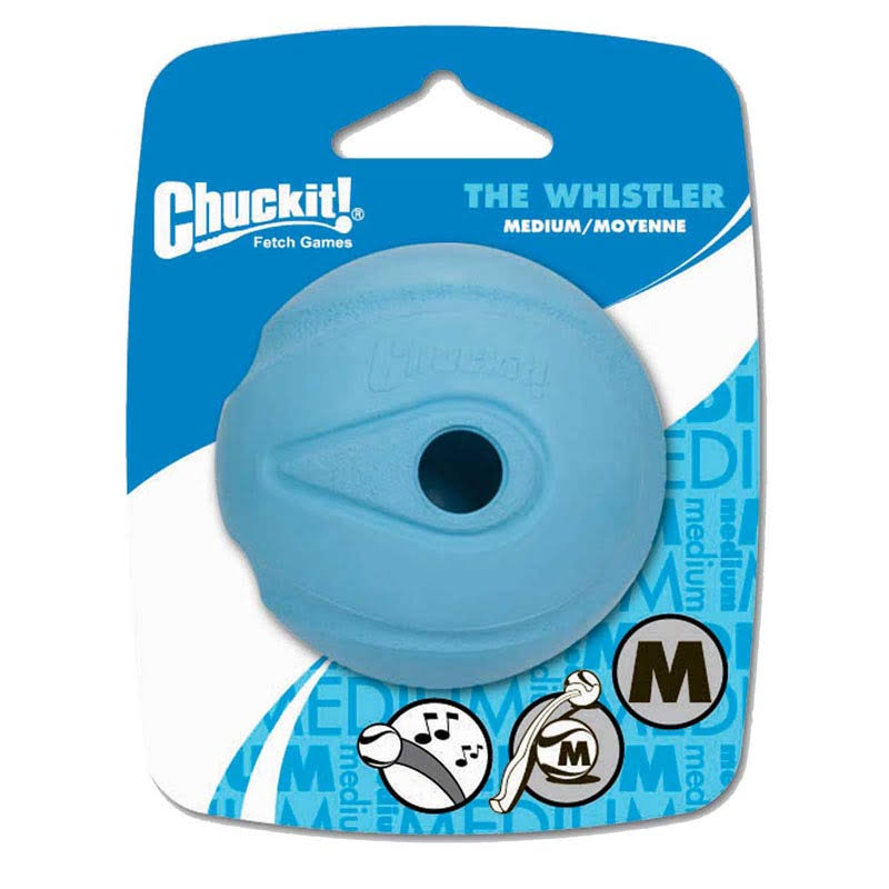 Chuckit The Whistler Dog Ball Toy - Blue, Medium