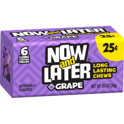 Farley's and Sathers Now and Later Changemakers Candy Bars - Grape