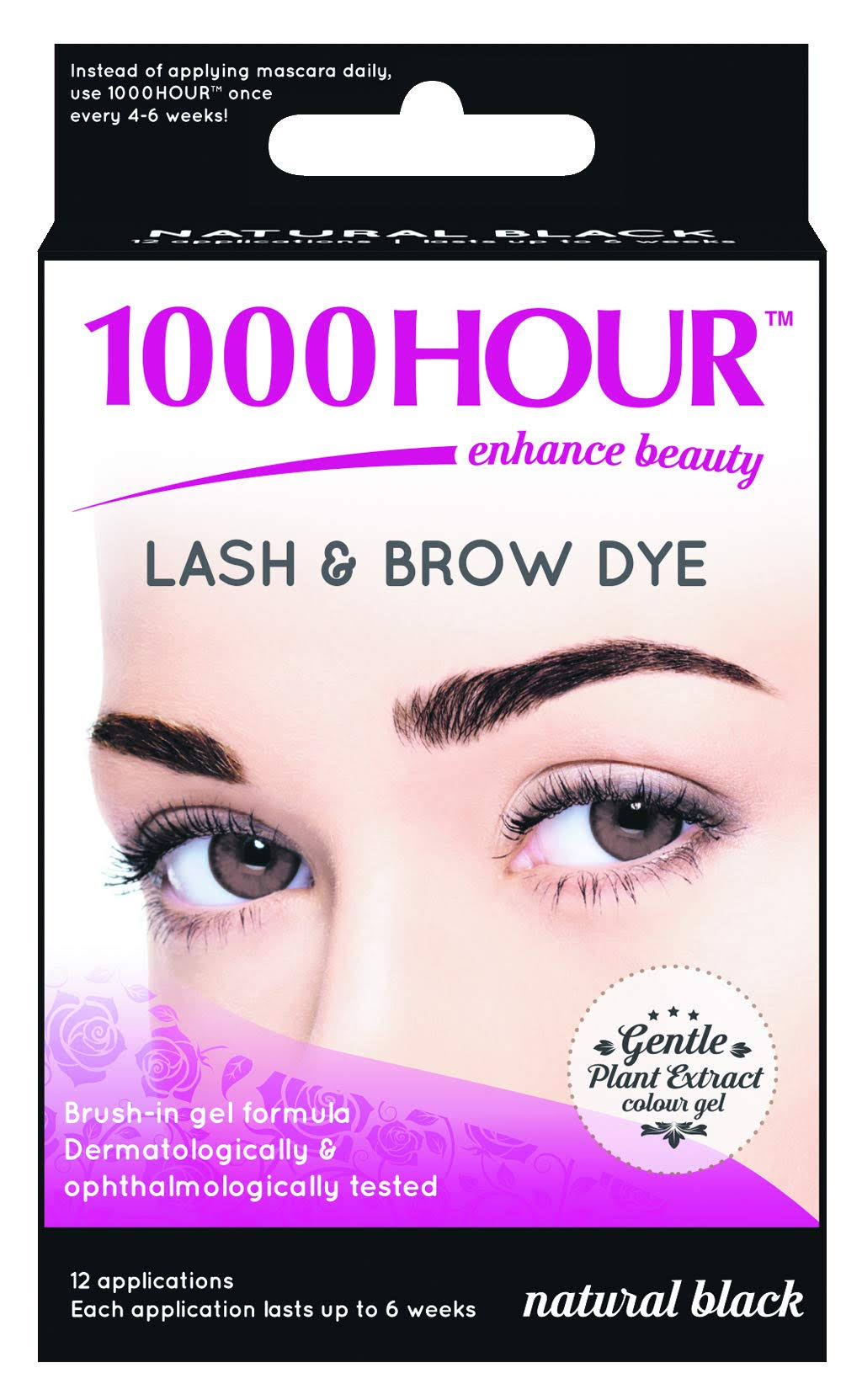 1000 Hour Lash & Brow Dye - Gentle Plant Extract Brush in Kit - Black