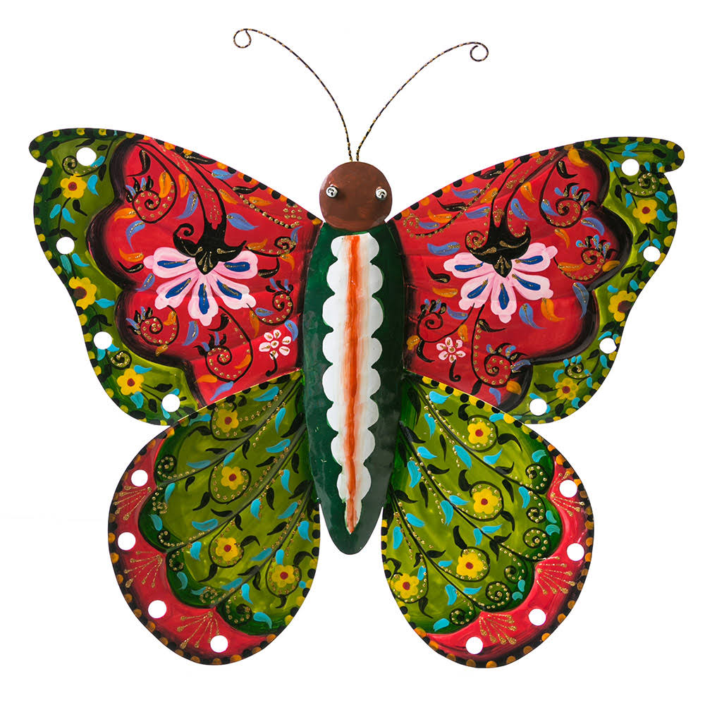 Evergreen Green & Red Hand-Painted Butterfly Décor One-Size