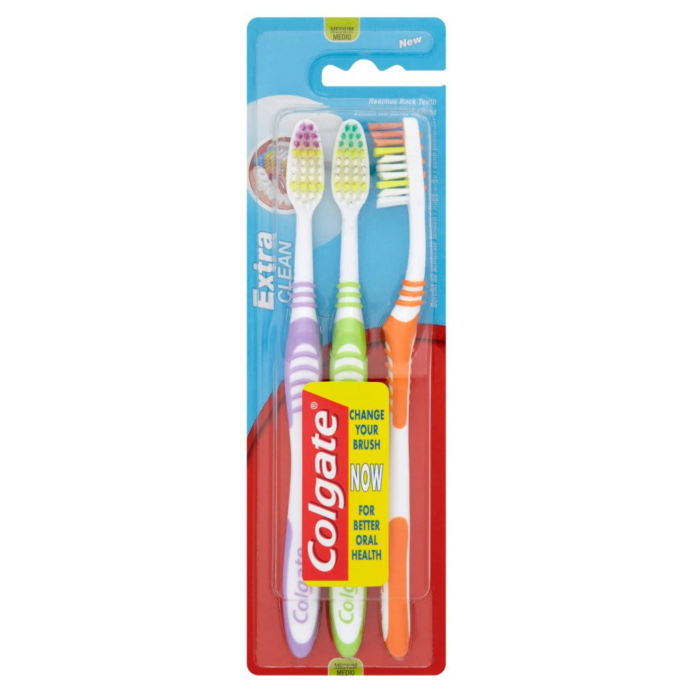 Colgate Extra Clean Toothbrush Pack - 3pk, Medium