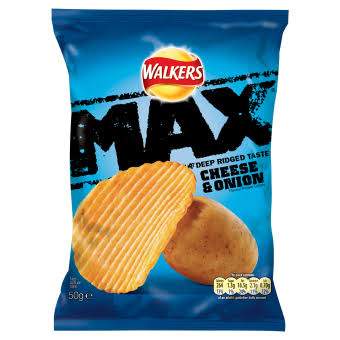 Walkers Max Crisps - Cheese and Onion, 50g