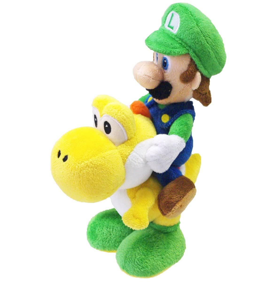 Super Mario Bros Luigi Riding Yoshi Plush Toy - 8""