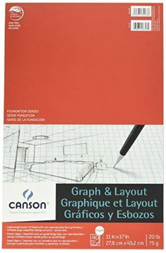"Canson Foundation Series Graph & Layout Pad, 8/8 Grid, 11"" x 17"""