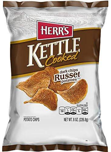 Herr's Kettle Cooked Potato Chips - Dark Russet Potatoes, 8oz