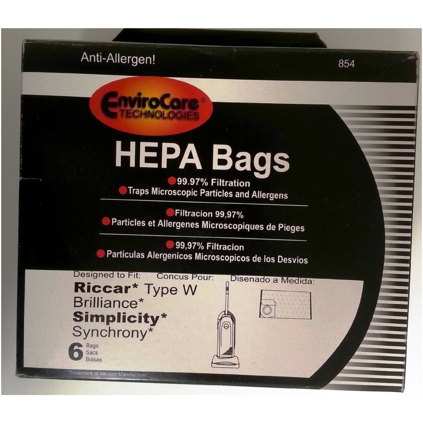6 Envirocare HEPA Vacuum Bags to Fit Riccar Type W and Brilliance Simplicity Synchrony