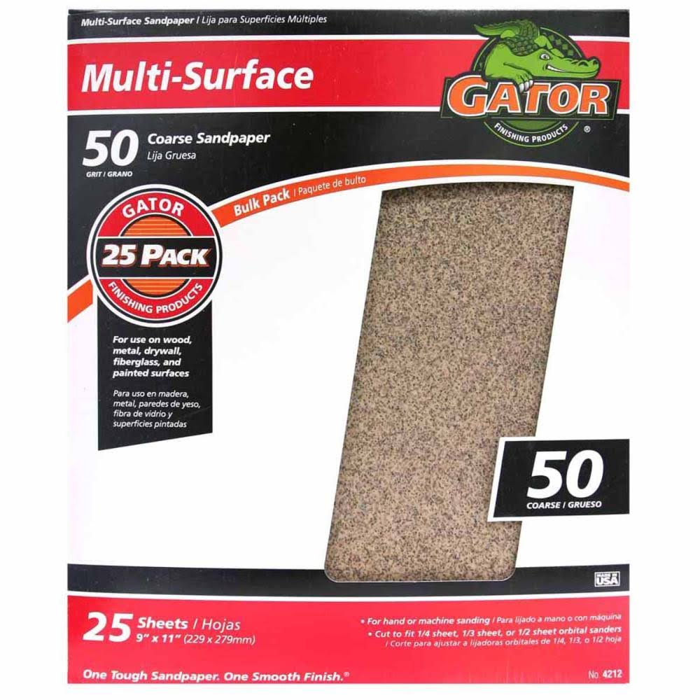 "Ali Industries Gatorgrit Multi Purpose Sandpaper - 50 Grit, 9"" x 11"""