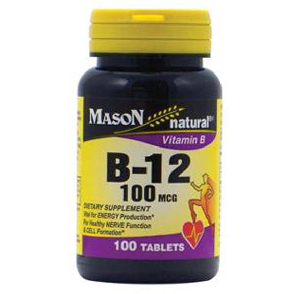 Mason Natural B-12 Supplement - 100mcg, 100 Tablets