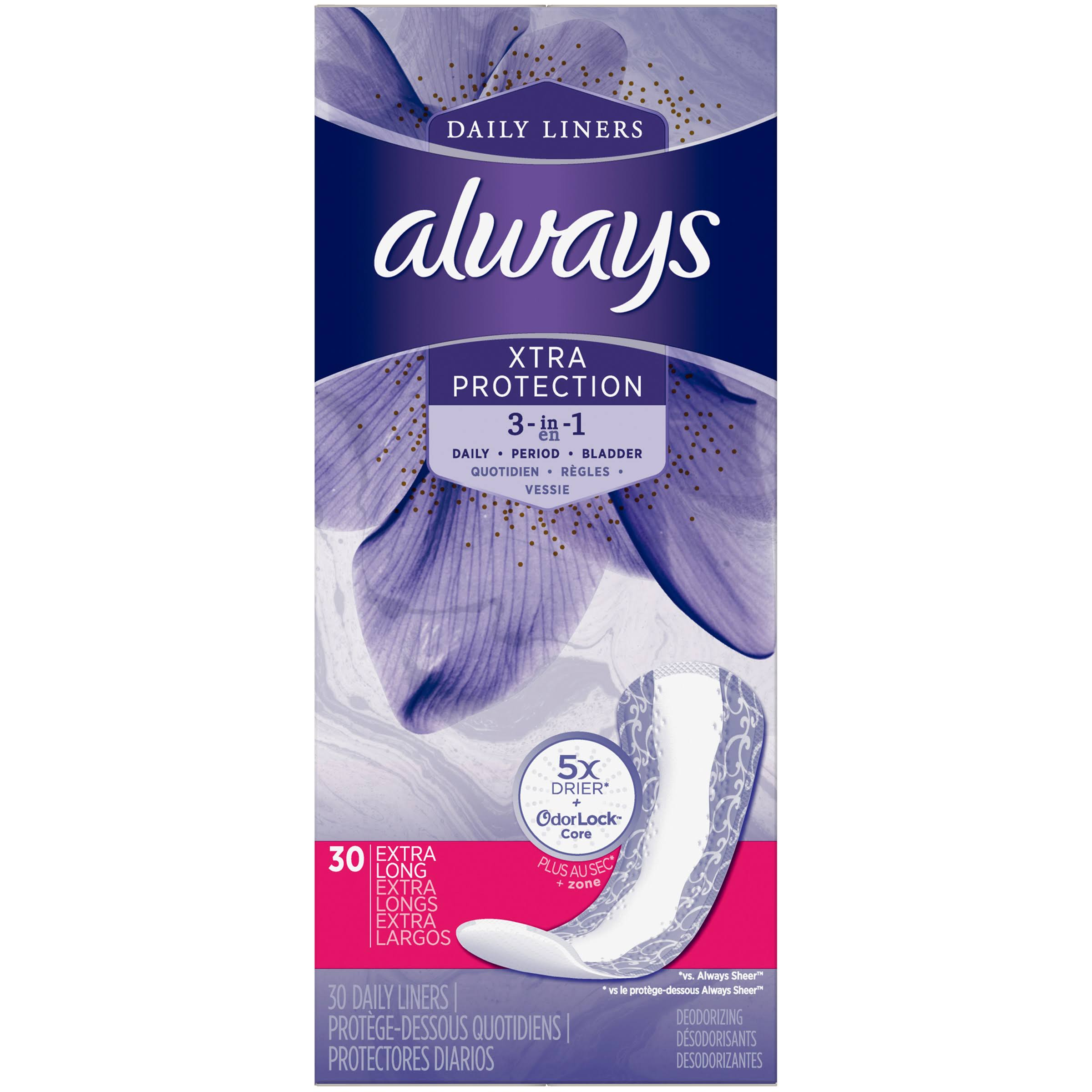 Always Xtra Protection Extra Long Deodorizing Liners with Odor Lock - 30 Pack