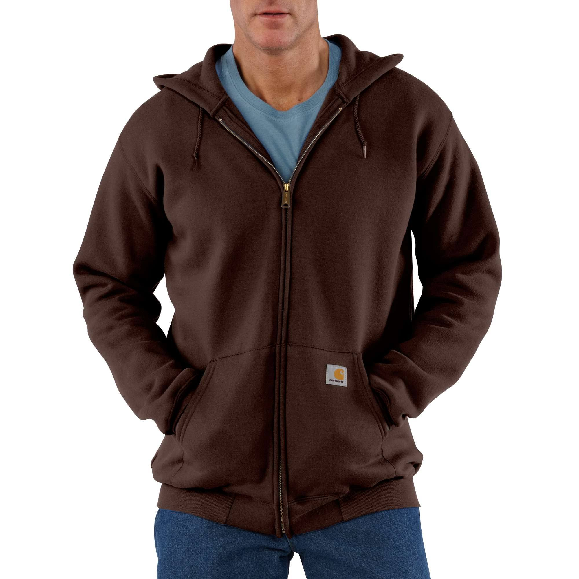 Carhartt Men's Midweight Hooded Zip Front Sweatshirt-Dark Brown-Large