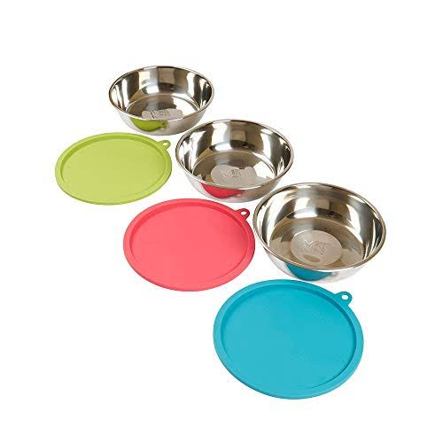 Messy Mutts 6pc Stainless Steel Bowl and Silicone Lid Box Set, 3 x Large Bowls 3