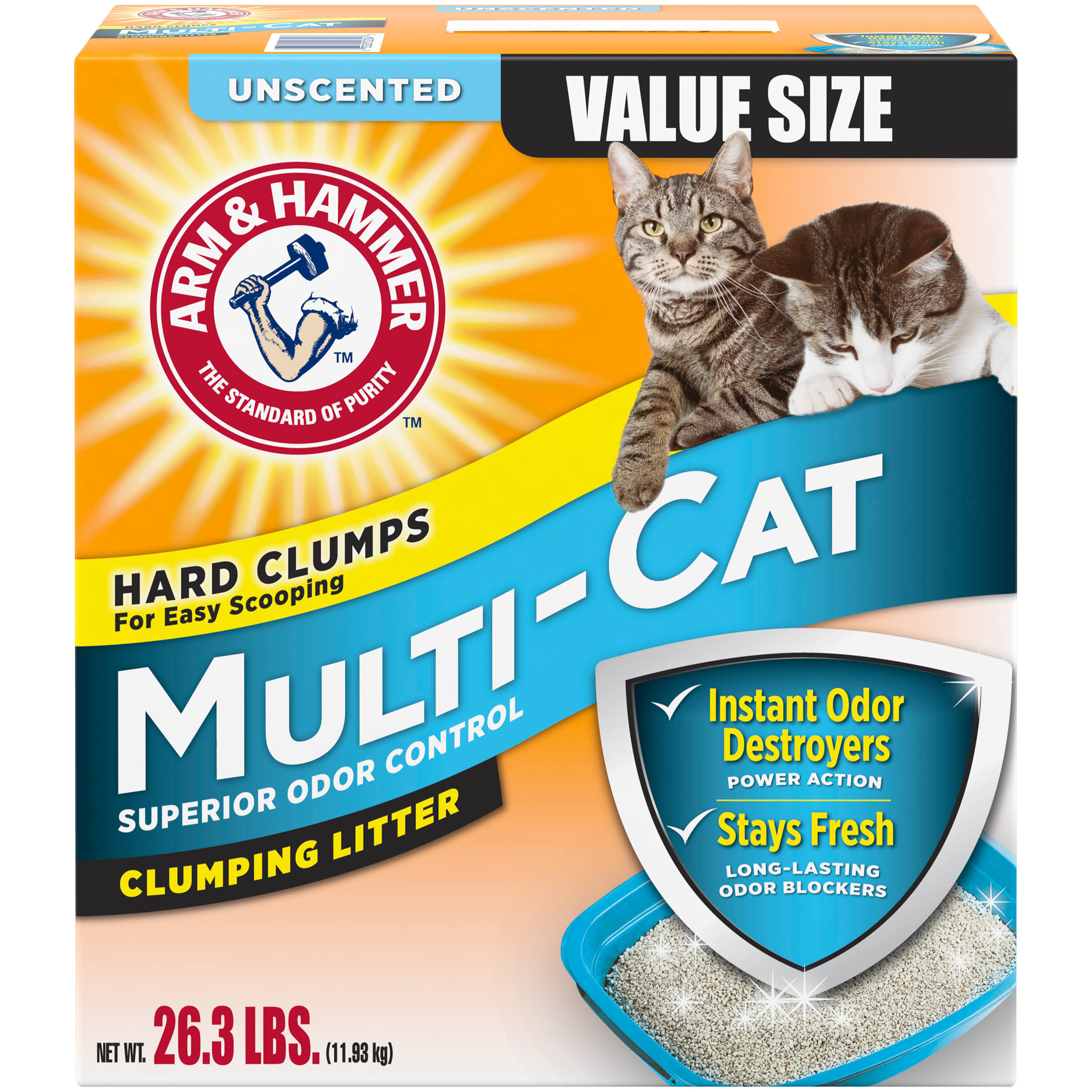Arm and Hammer Multi Cat Strength Clumping Litter - Unscented, 26.3lb