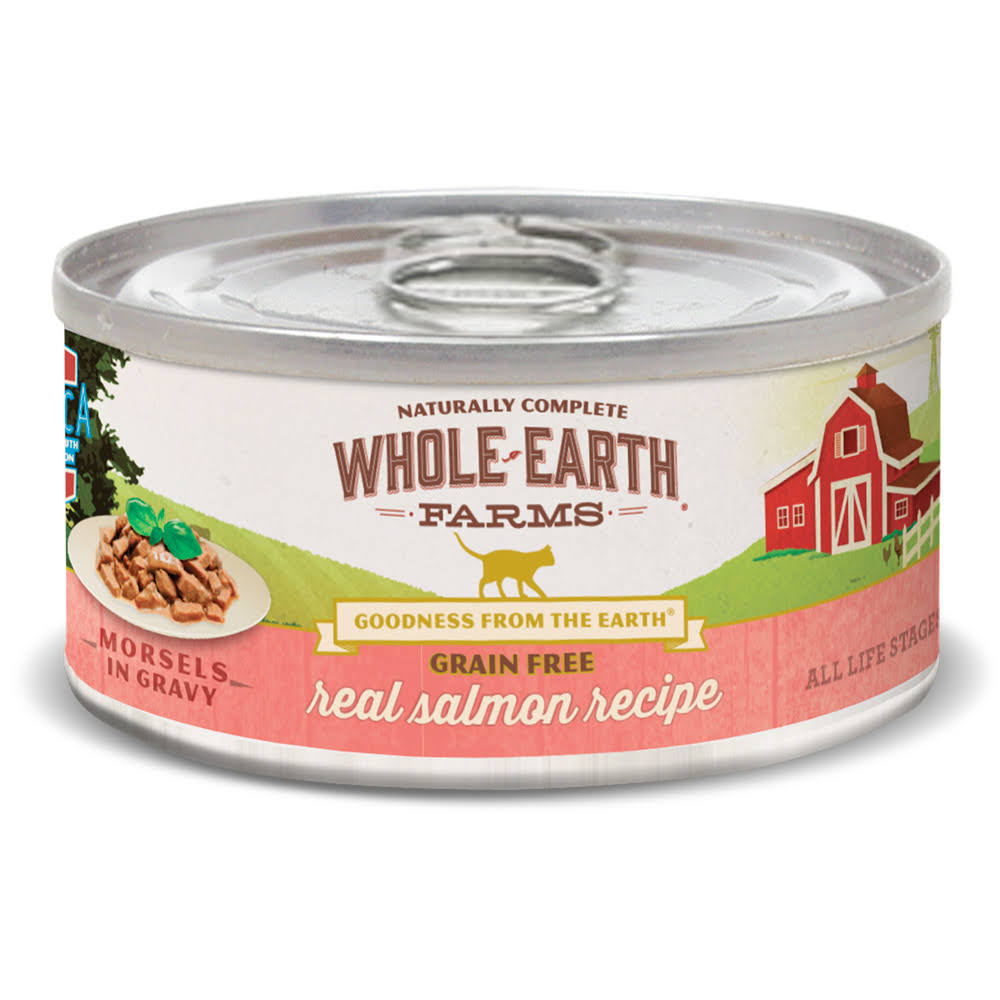Whole Earth Farms Grain Free Real Salmon Morsels in Gravy Canned Cat