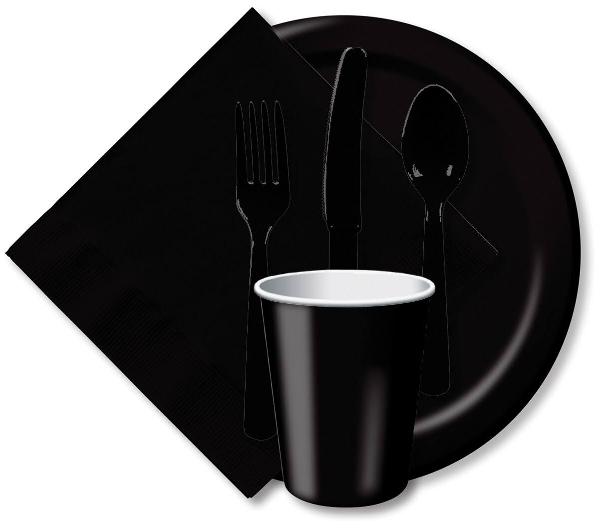 "Creative Converting Paper Luncheon Plates - Black Velvet, 7"", 24 Plates"
