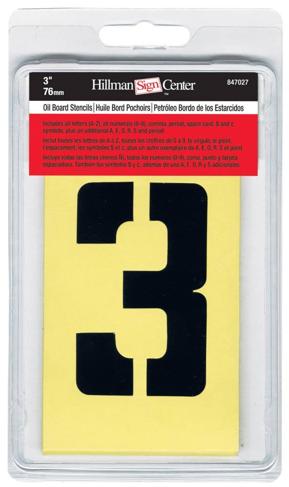 The Hillman Group 847027 Numbers, Letters, and Punctuation Combo Stencil Set - 3""