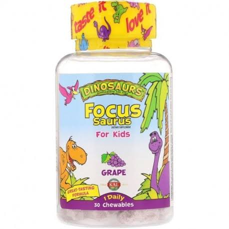 Kal Focus-Saurus For Kids Supplement - Grape, 30 Chewables