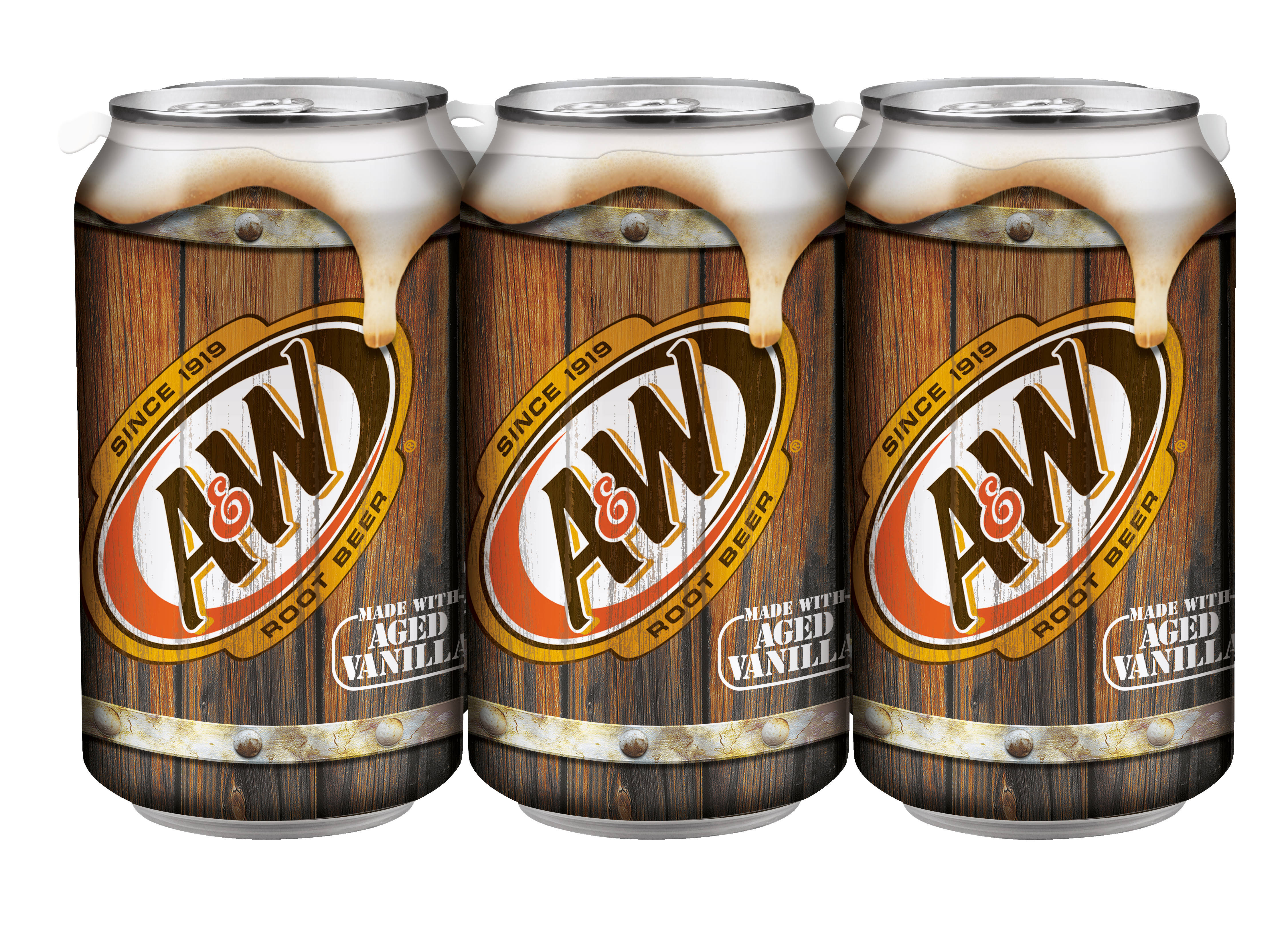 A&W Root Beer, 12 fl oz cans, 6 pack