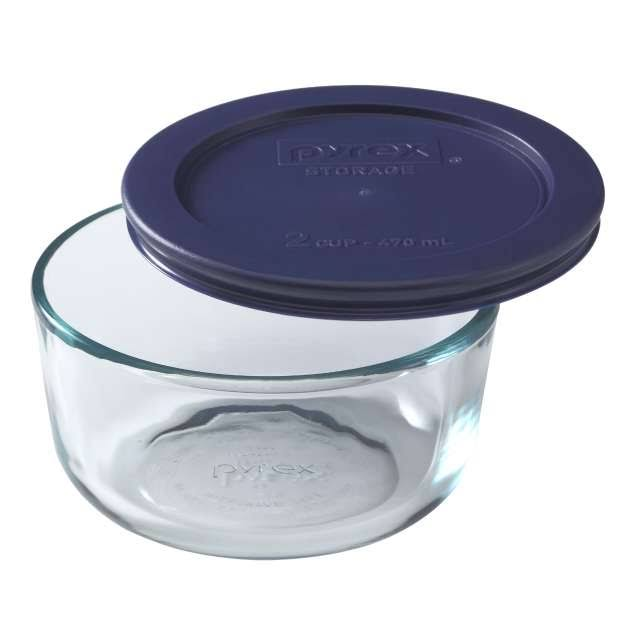 Pyrex 2-Cup Round Glass Storage Set with Dark Blue Plastic Cover
