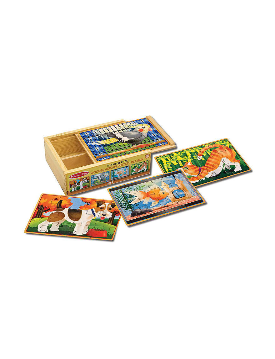 Melissa & Doug 4-In-1 Wooden Jigsaw Puzzles in a Box, Pets