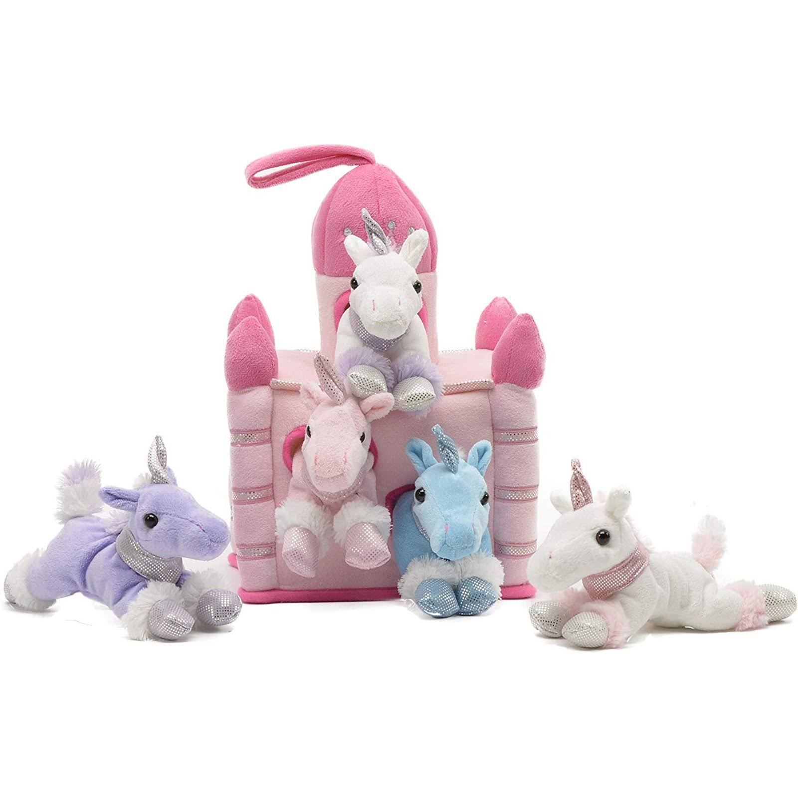 Unipak Unicorn Pink Castle 11 inch Plush Set