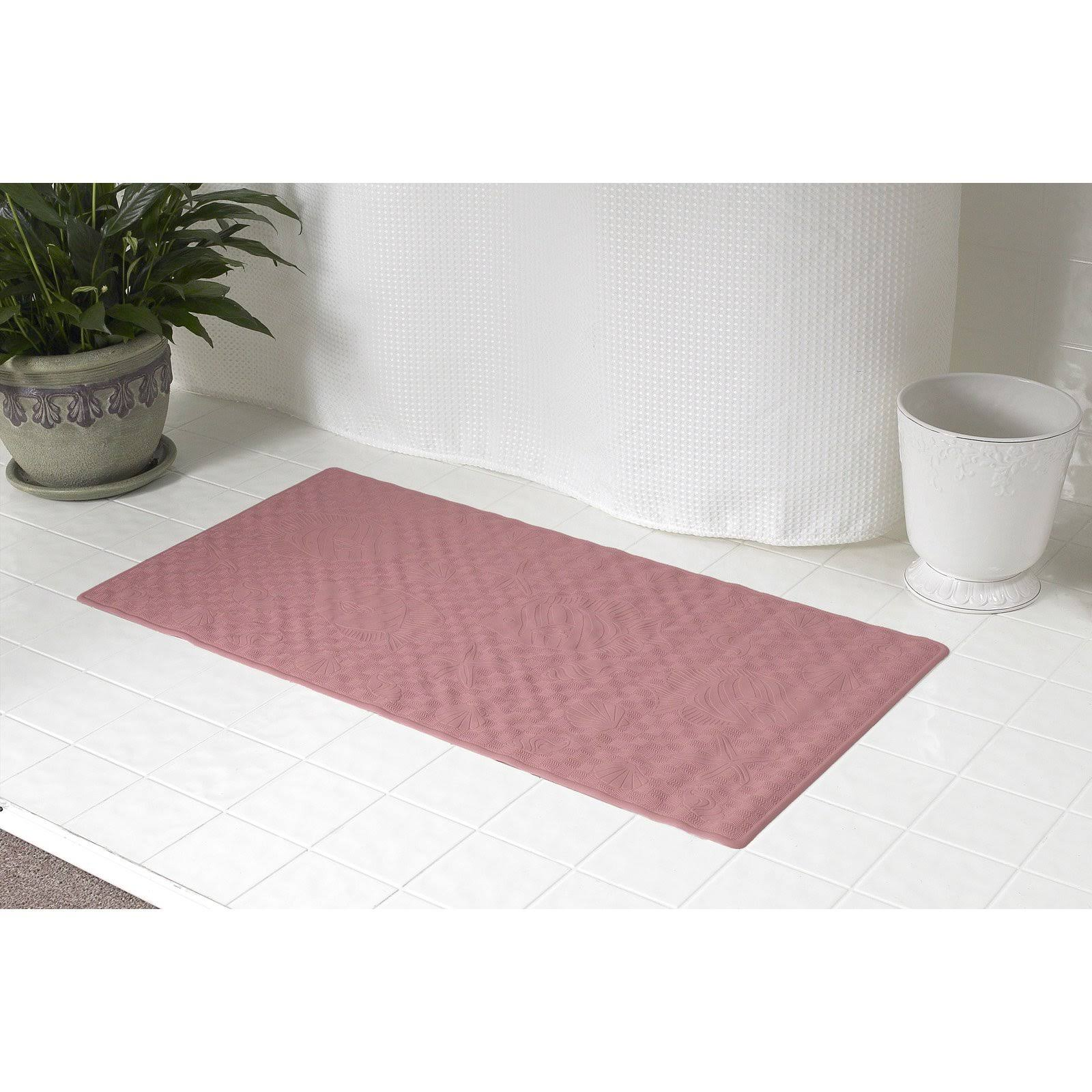 Carnation Home Fashions Rubber Bath Tub Mat, Rose