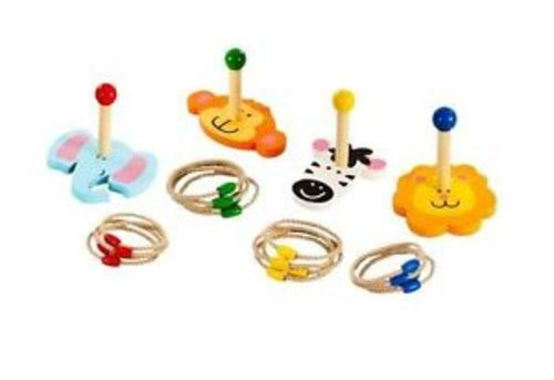 Jungle Animals Wooden Indoor and Outdoor Ring Toss Game Set - 20pcs