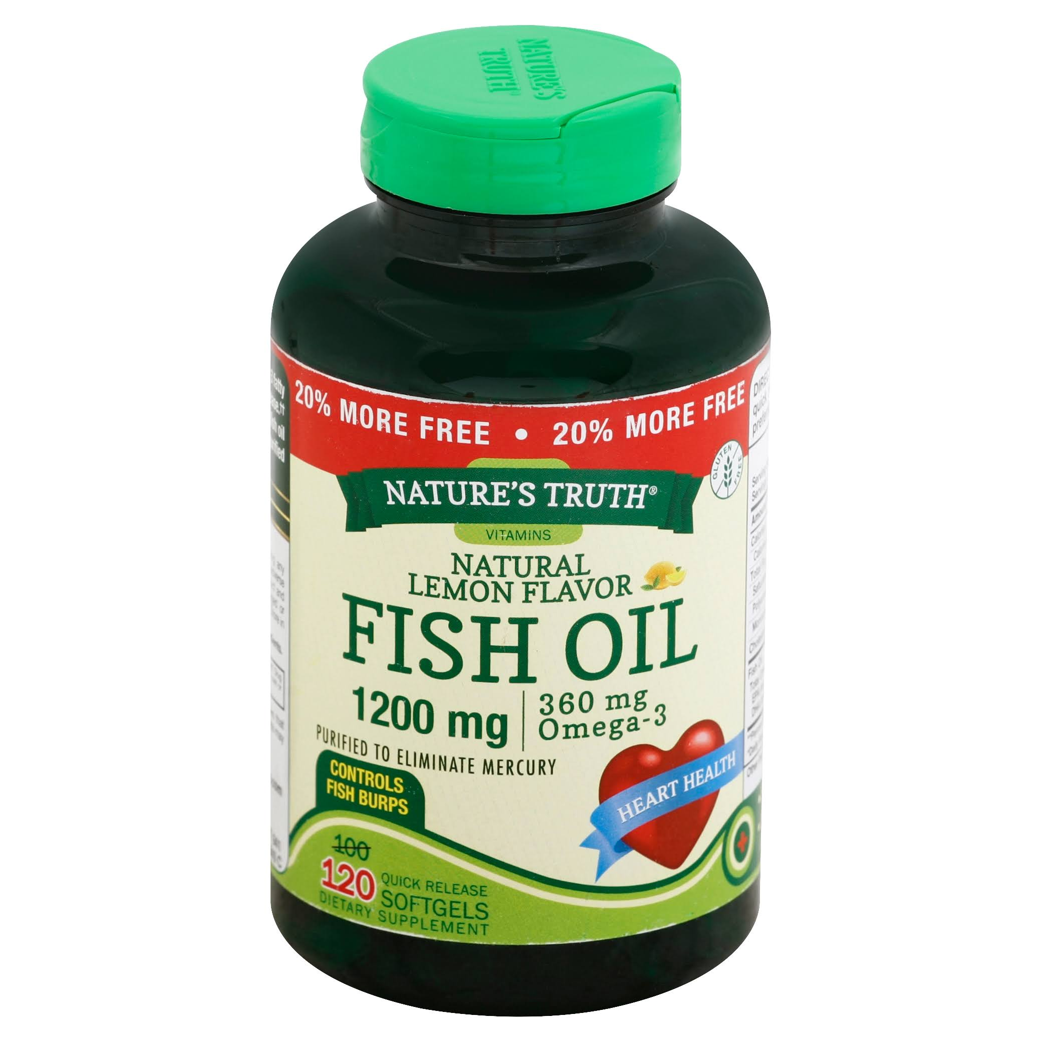 Nature's Truth Fish Oil Omega-3 Supplement - Natural Lemon Flavor, 120 Softgels