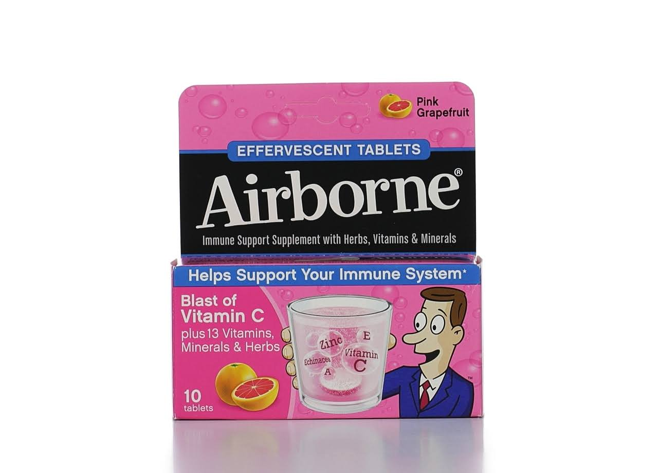 Airborne Original Effervescent Immune Support Tablets - Pink Grapefruit, 10pk