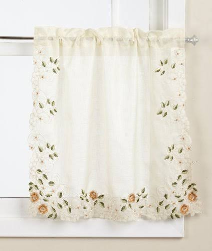 Lorraine Rosemary Linen 24 inch Kitchen Curtain Tier, Gold
