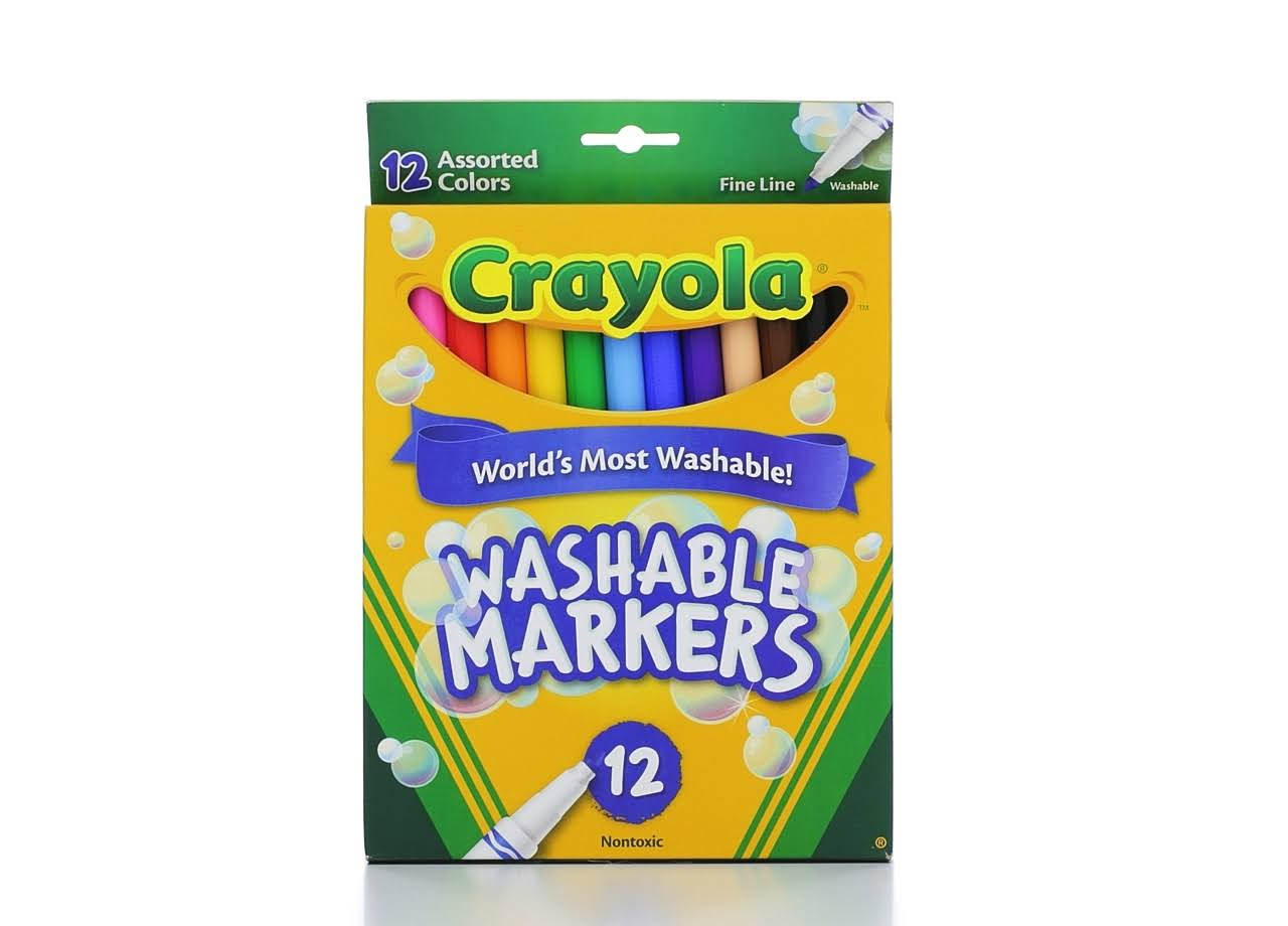 Crayola Washable Markers - Fine Point, Classic Colors, 12pcs