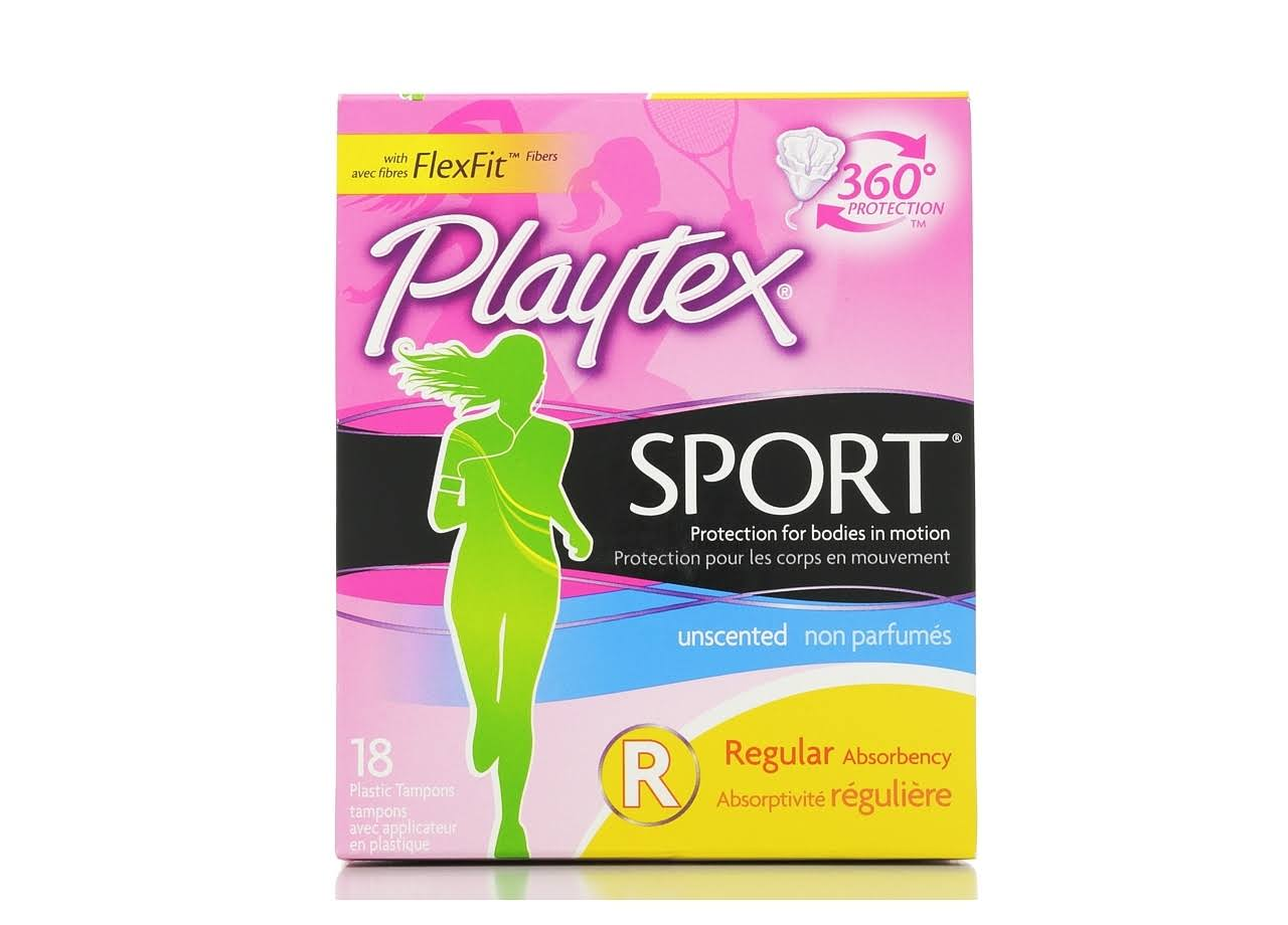 Playtex Sport Regular Absorbency Unscented Plastic Tampons - 18 Pack