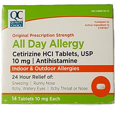Quality Choice All Day Allergy Original Strength 14 Tablets (Compare to ZYRTEC) (Pack of 1)