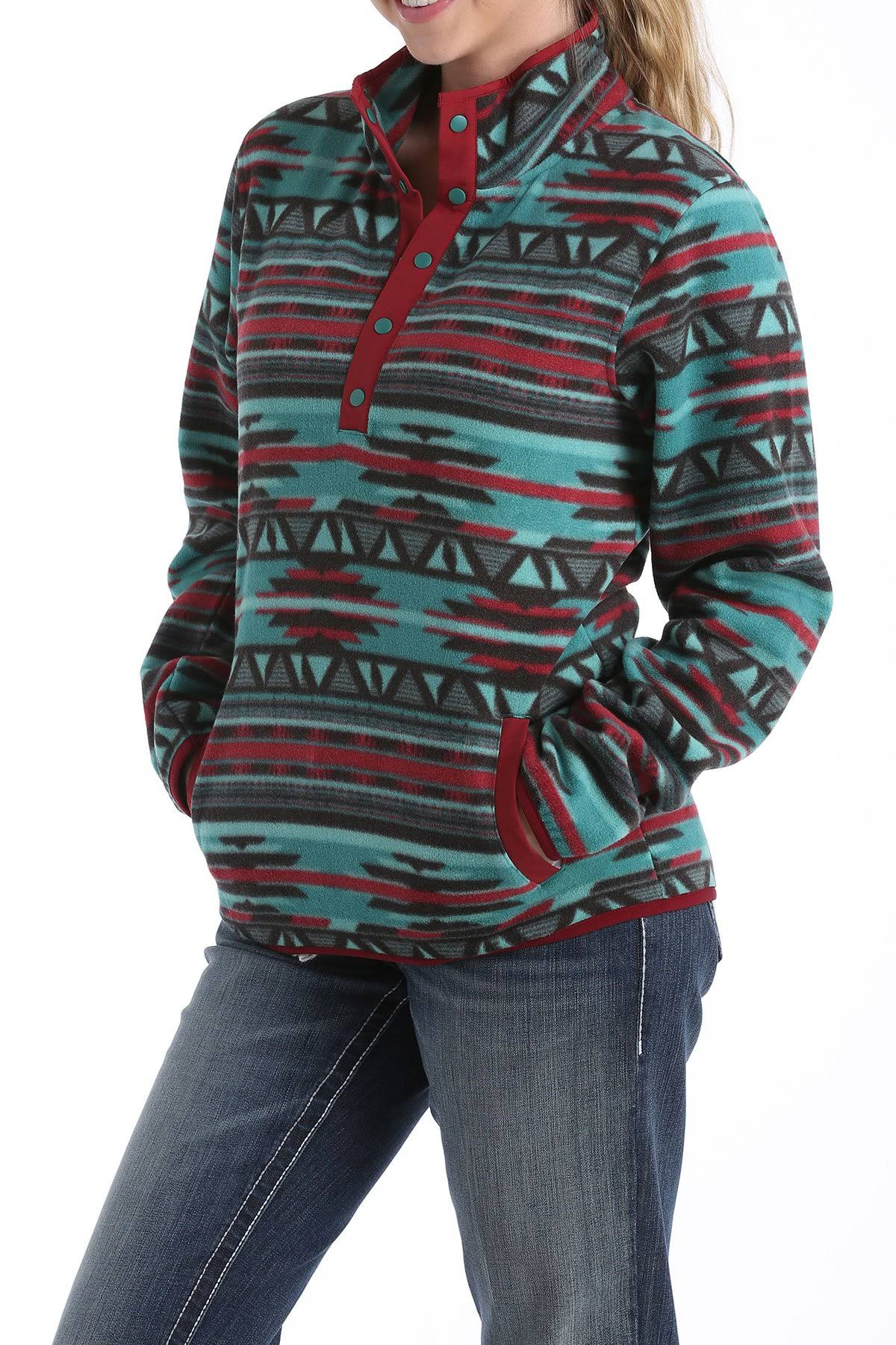Cinch Printed Fleece Pullover