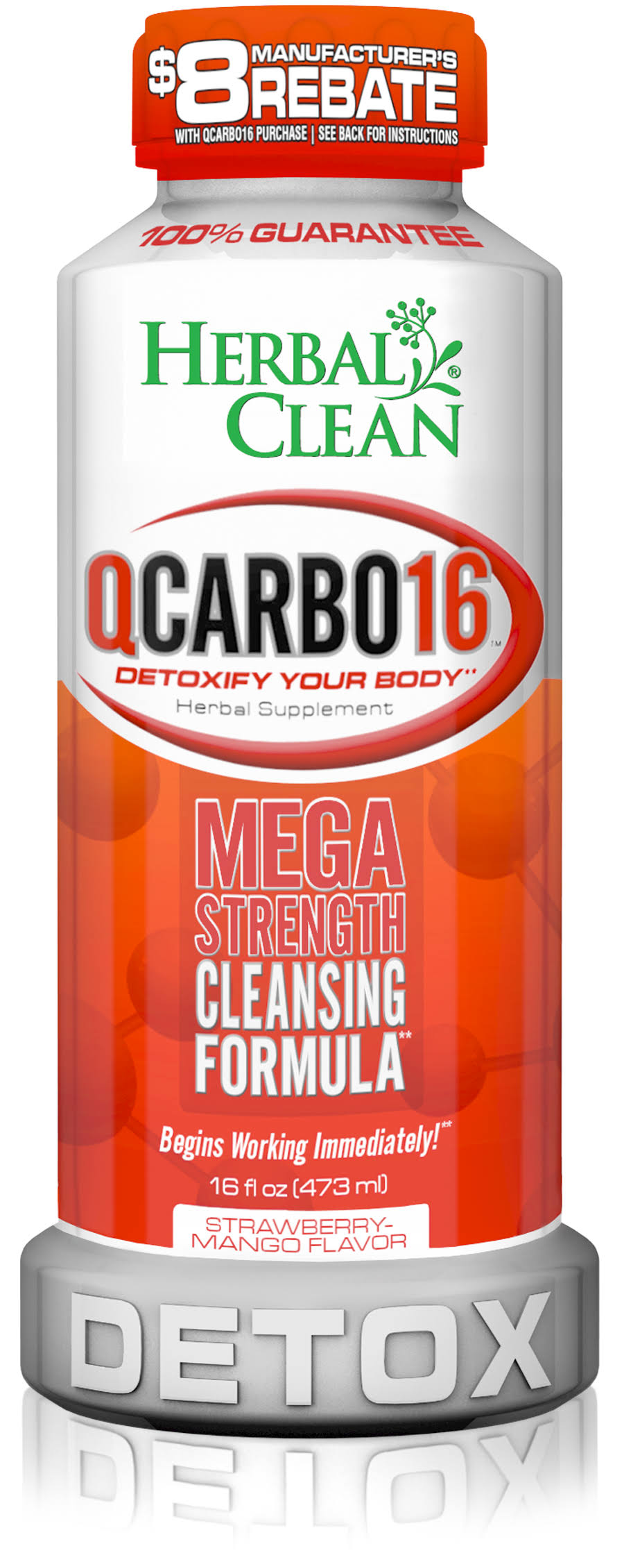 Herbal Clean QCarbo16 Mega Strength Cleansing Formula - Strawberry Mango, 16oz