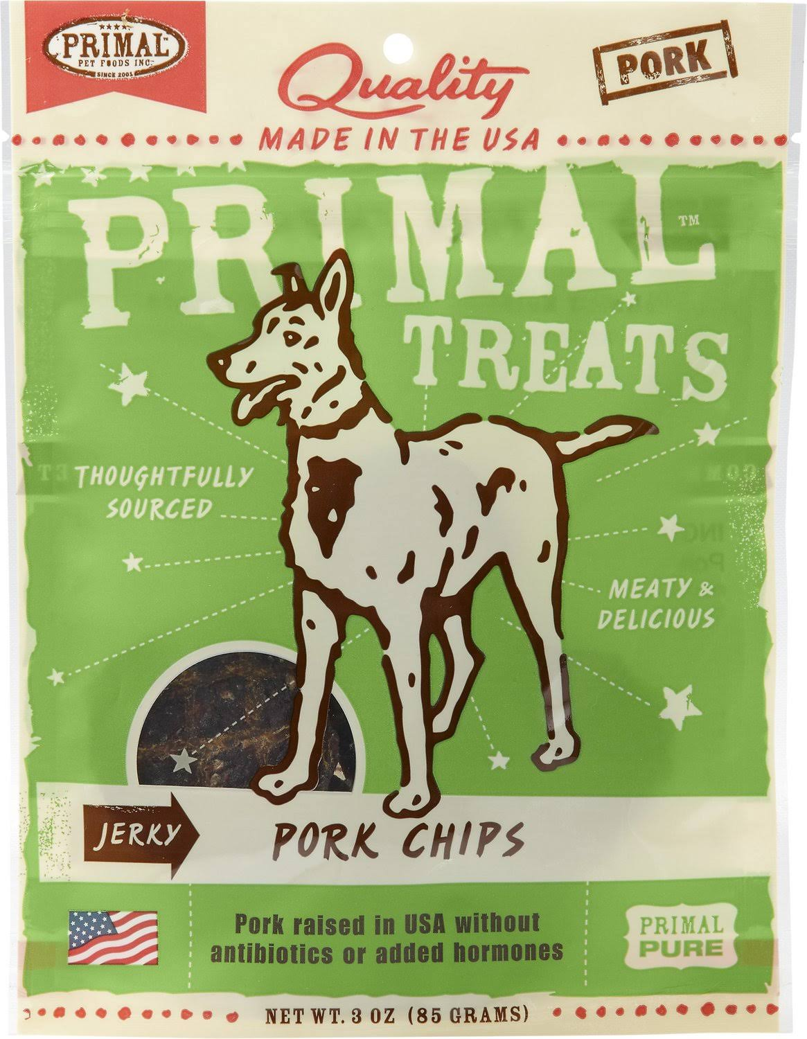 Primal Pet Foods Jerky Chips Treats - Pork, 85g