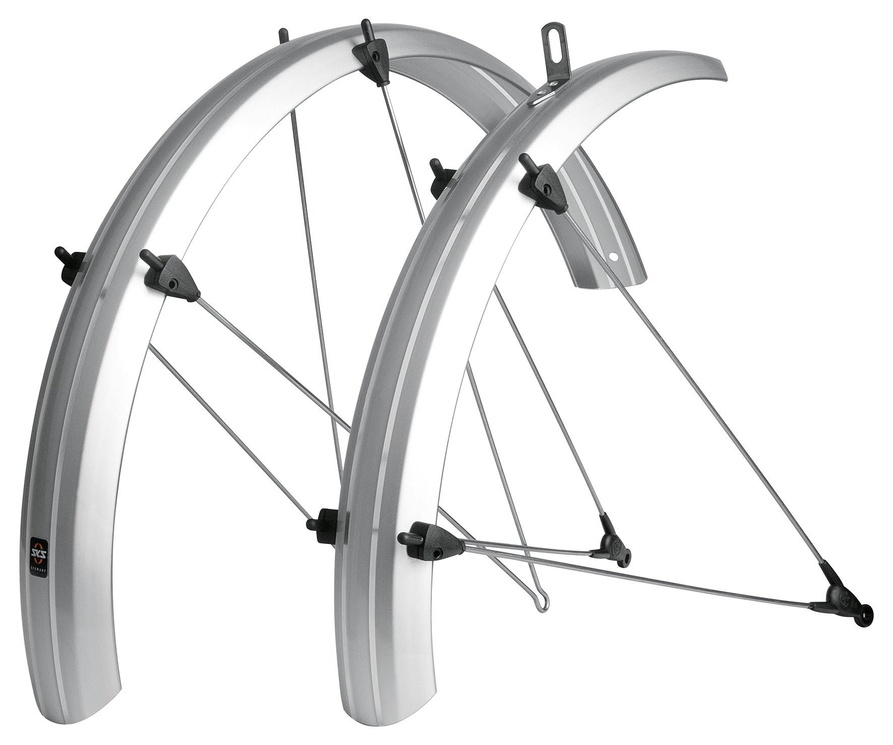 SKS B53 Bolt-On Recumbent Folding Bike Fenders - Silver, 53mm
