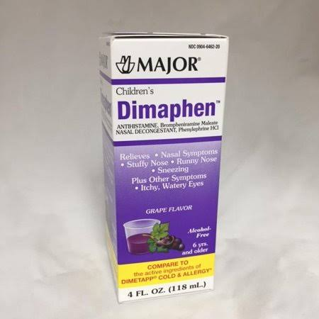 Major Children's Dimaphen Elixir Grape 4oz