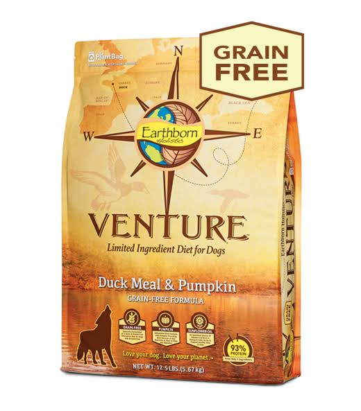 Earthborn Holistic Grain Free Venture Duck Meal & Pumpkin Lid Dog Food 12.5 lbs