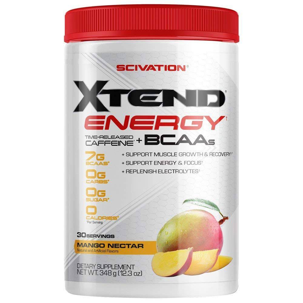 Xtend Energy BCAA Powder, 125mg Caffeine + Sugar Free Pre Workout Muscle Recovery Drink with Amino Acids, 7g BCAAs for Men & Women, Mango Madness, 30
