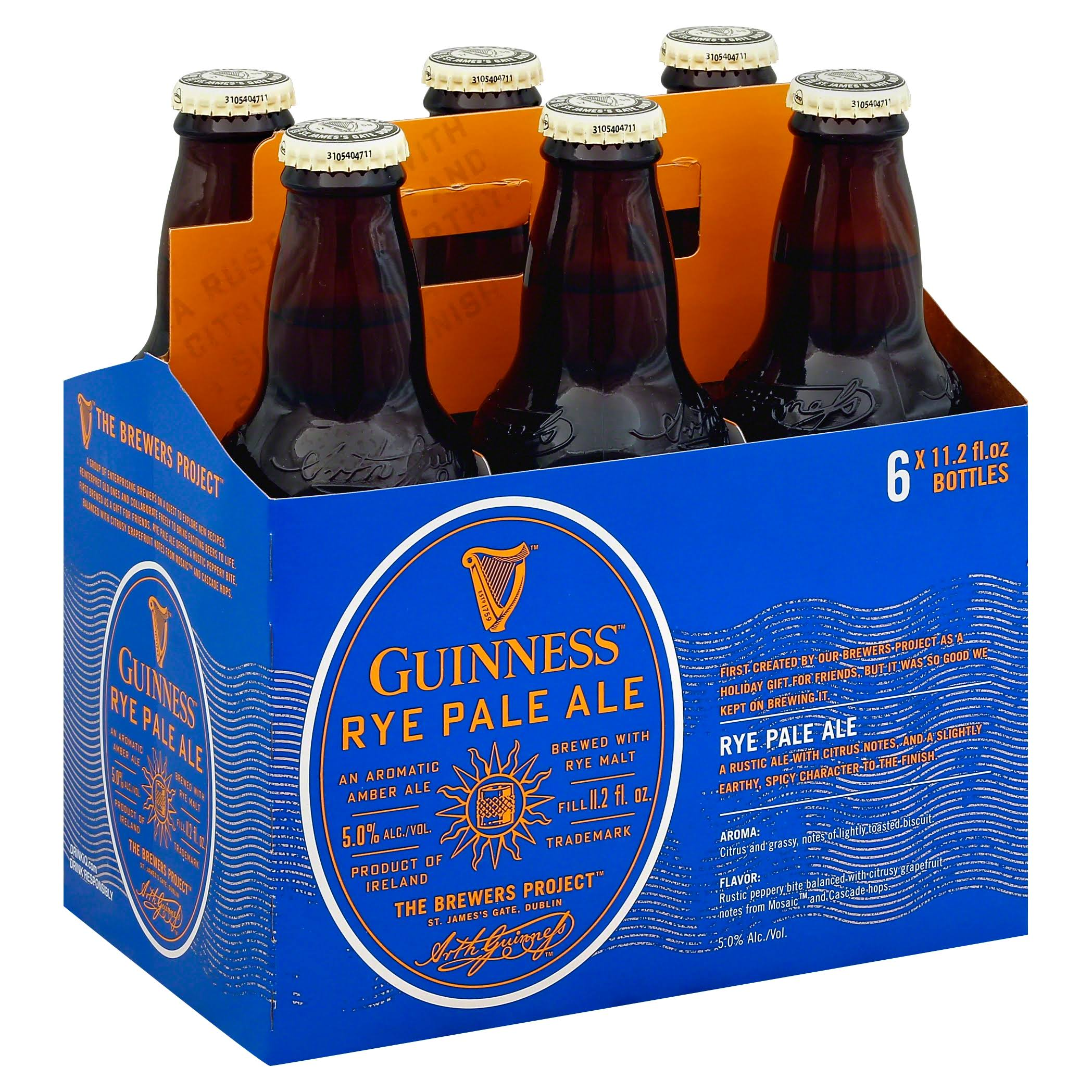 Guinness Beer, Rye Pale Ale - 6 pack, 11.2 fl oz bottles