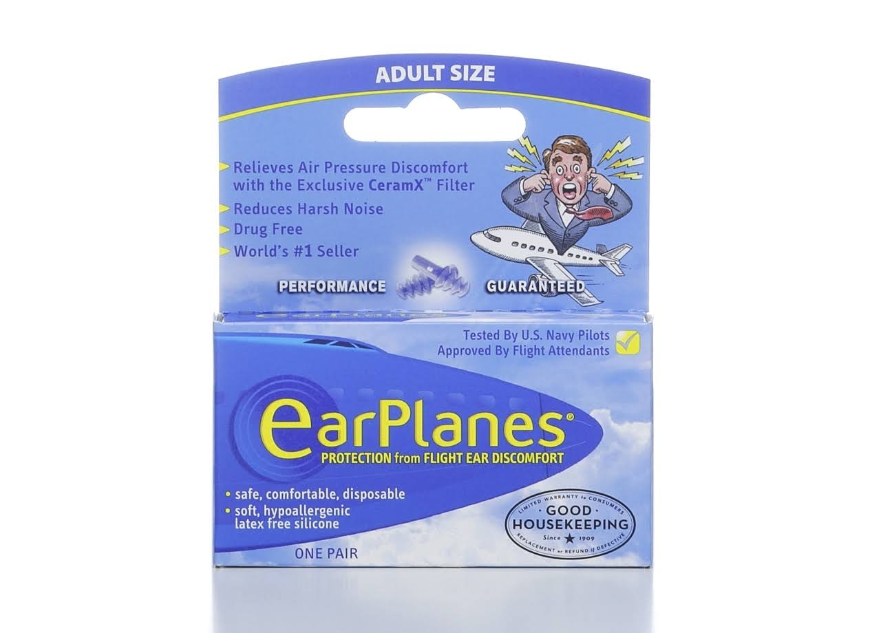 Earplanes Protection From Flight Ear Discomfort - 1 Pair, Adult