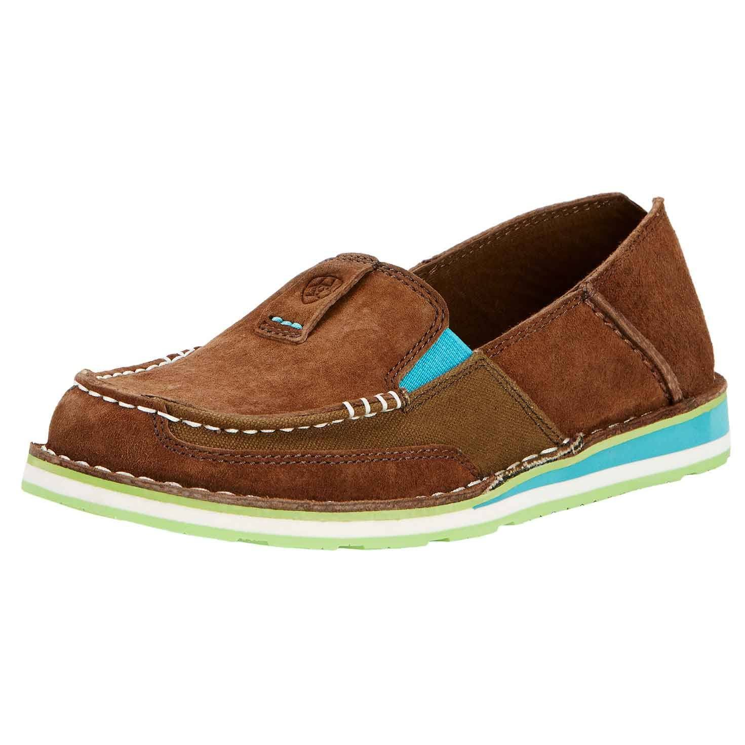 Ariat Womens Cruiser MOC Toe Slip On Leather Shoes - Palm Brown, 8 US