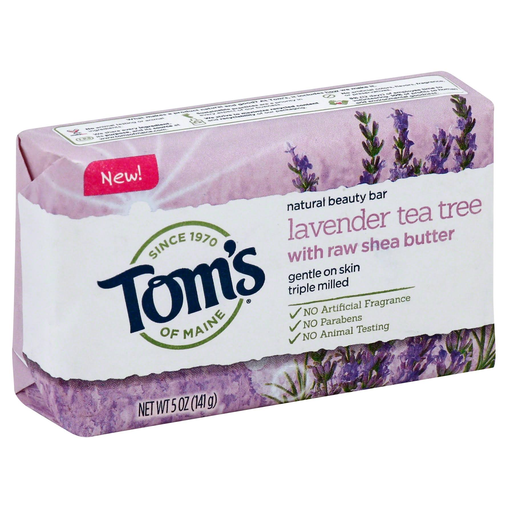 Tom's of Maine Natural Beauty Bar Soap with Raw Shea Butter - Lavender Tea Tree, 5oz